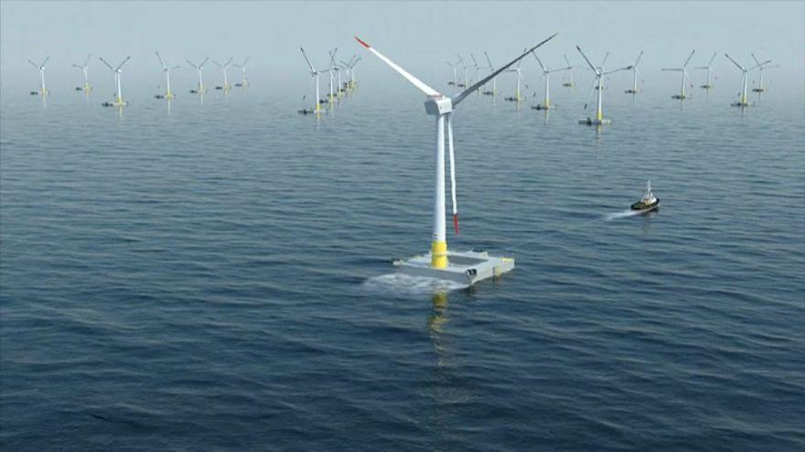 Simulation en images de synthèse d'un futur parc d'éoliennes en mer