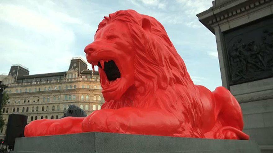 roaring art please feed the lions in trafalgar square euronews