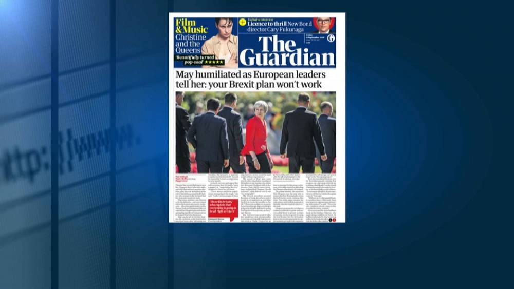 """Los titulares británicos hablan de """"humillación"""" a May en Salzburgo"""