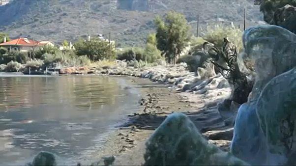 Grecia: una ragnatela di 300 metri avvolge la spiaggia