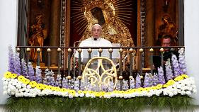 Pope Francis speaks at the Gate of Dawn shrine in Vilnius, Lithuania