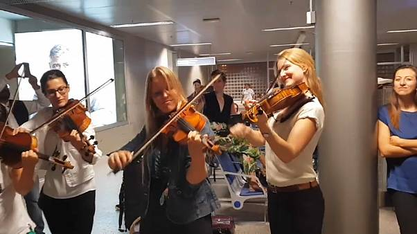 Playing Vivaldi in Geneva airport