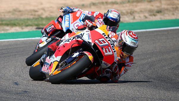 Triunfo de Márquez y caída de Lorenzo en el Gran Premio de Aragón de MotoGP