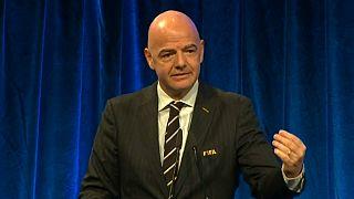 Gianni Infantino na conferência de antevisão dos prémios FIFA