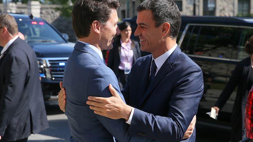 El primer ministro canadiense Justin Trudeau recibe a Pedro Sánchez