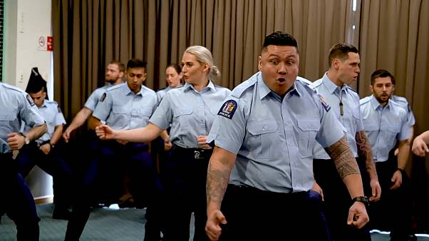 Auckland police officers perform haka at graduation ceremony
