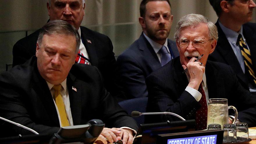 مشتشار الأمن القومي الأمريكي جون بولتون ووزير الخارجية مايك بومبيو