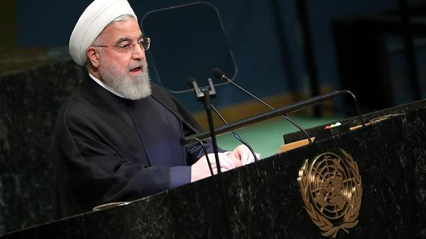 Iranian President Hassan Rouhani speaks at the UN before the UNGA