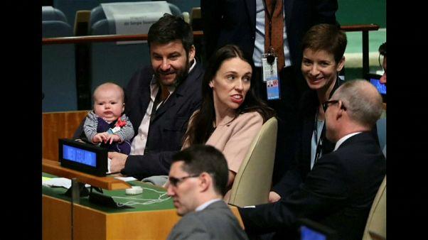 BM Genel Kurulu'na bebeğiyle katılan başbakan