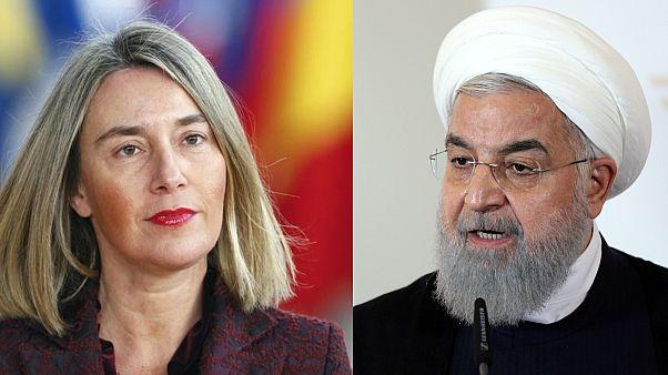 الرئيس الإيراني حسن روحاني وفيديريكا موغيريني