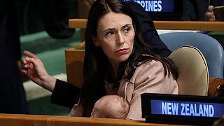 Ardern mit ihrer Tochter Neves bei der UN-Generalversammlung