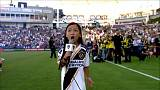 A pint-sized vocal powerhouse stuns the crowd at a MLS game