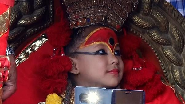 """Nepal's new """"living goddess"""" makes first public appearance"""