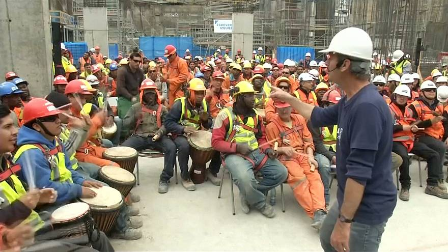 Watch: Chilean construction workers play drums to avoid stress at their workplace
