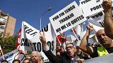 Des chauffeurs de taxi manifestent contre Uber et Cabify à Madrid, Espagne