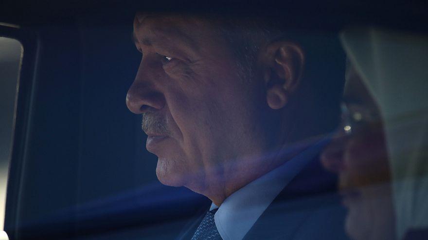 الرئيس التركي رجب طيب إردوغان لدى وصوله إلى العاصمة برلين