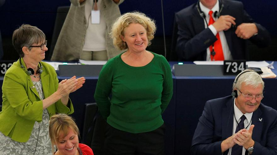 Molly Scott Cato (left) and Judith Sargentini (center) in the EP Strasbourg