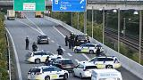 Police closes the Oresund bridge nr Copenhagen, Denmark, September 28, 2018
