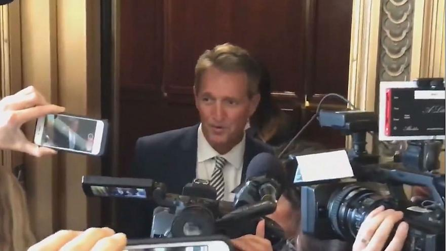 Jeff Flake confronted by sexual assault survivors after he backs Kavanaugh