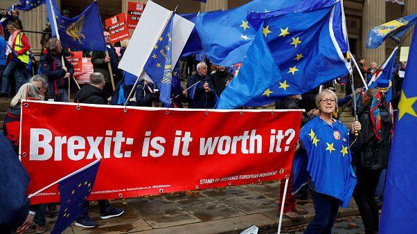 """AB'den çıkmayı protesto edenler """"Brexit: Buna değer mi?"""" pankartıyla"""