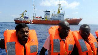 Migrants are rescued by SOS Mediterranee organisation