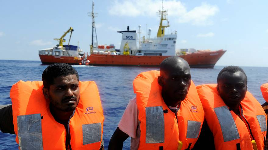 Migrants are rescued by SOS Mediterranee organisation