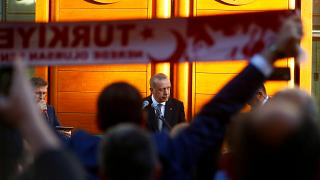 Turkish President Tayyip Erdogan delivers a speech in Cologne, Germany