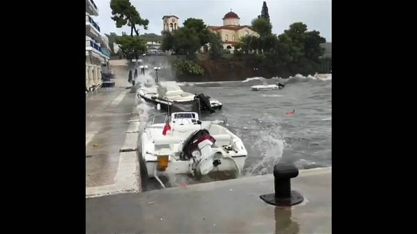 Southern Greece is lashed by Storm  Zorba