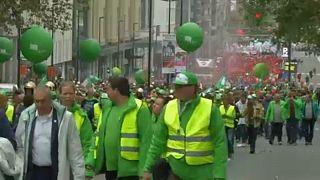 من إضراب موظفي الخدمات العامة في العاصمة بروكسل الجمعة الماضية