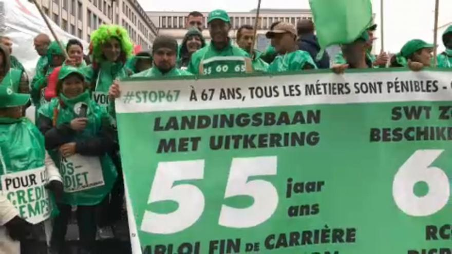 Manifestation à Bruxelles contre la pension à 67 ans