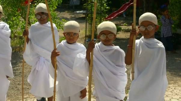 Watch: Schoolchildren dress as Gandhi amid birthday celebrations