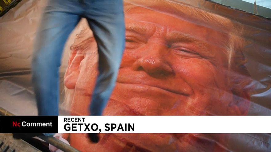 """شاهد: معرض إسباني يقترح على زائريه القفز على وجه """"أقوى رجل في العالم"""""""
