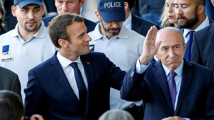 President Emmanuel Macron with Interior Minister Gérard Collomb