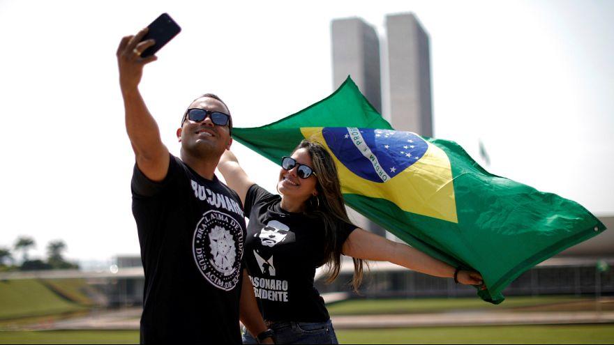Apoiantes de Jair Bolsonaro na Esplanada dos Ministérios, em Brasília