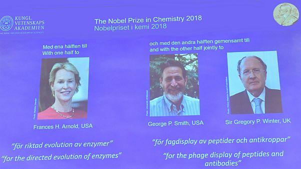 جایزه نوبل شیمی سال ۲۰۱۸ به دو آمریکایی و یک بریتانیایی تعلق گرفت