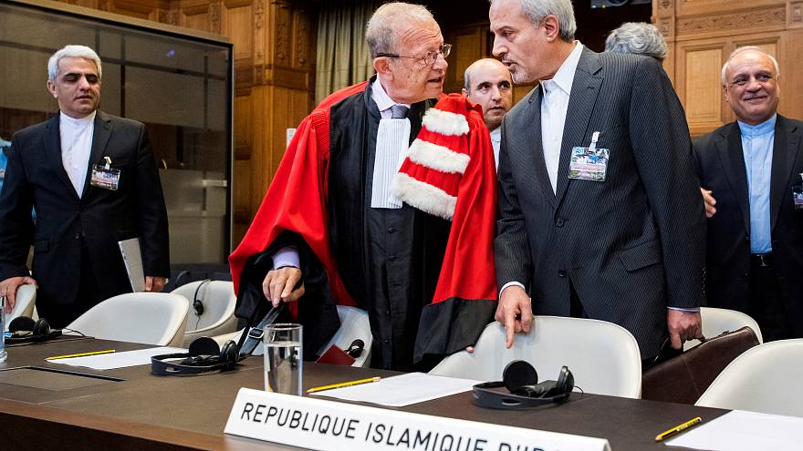 Mohammed Zahedin Labbaf of Iran's delegation at the ICJ, August 27, 2018