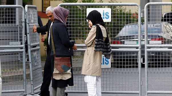 Jamal Khashoggi's fiancée outside Istanbul's Saudi Consulate on October 3