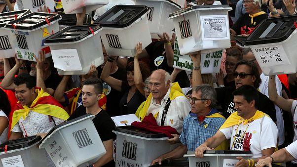 Manifestación con motivo del primer aniversario del referéndum 1-O.