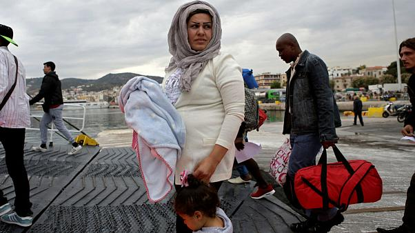 migrant child island of Lesbos