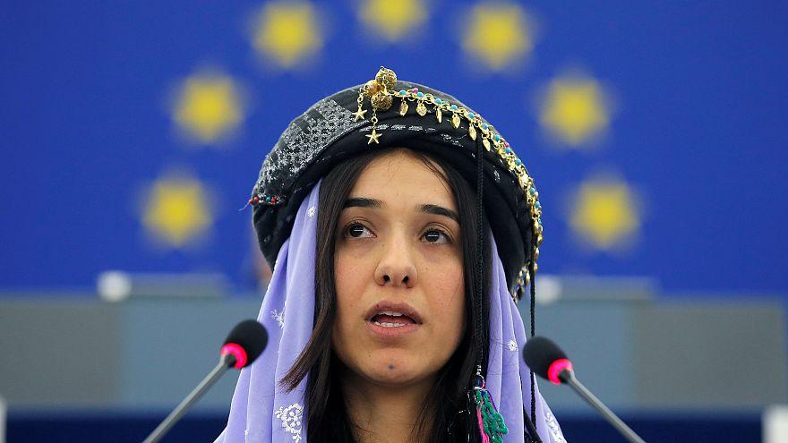الأيزيدية نادية مرا التي فازت مناصفة بجائزة نوبل للسلام مع طبيب كونغولي