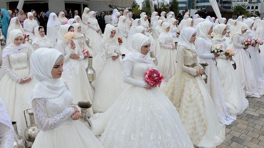 Массовое бракосочетание в Грозном