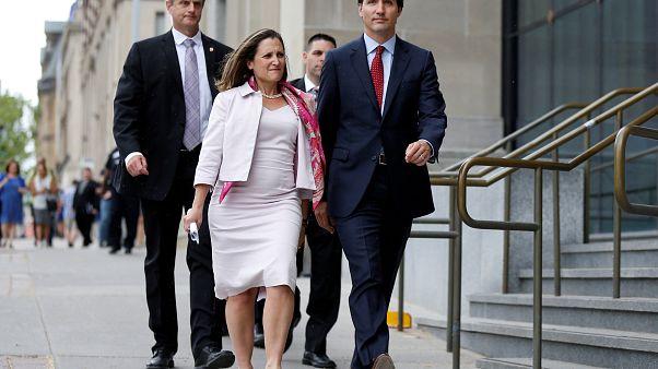رئيس الحكومة الكندية ووزيرة الخارجية
