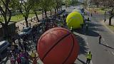 Big balls bounce into Buenos Aires to mark Youth Olympics