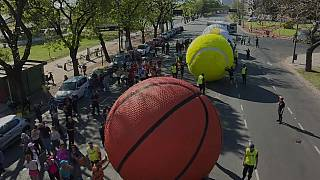 Buenos Aires celebrates Youth Olympics with giant sports balls art installation