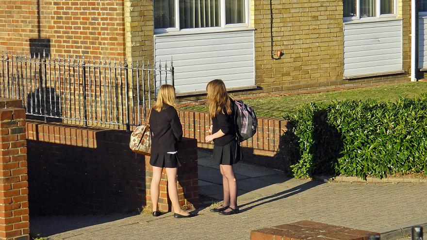 Dorking Schoolgirls Patiently Waiting For Mum - Oct 2011 -