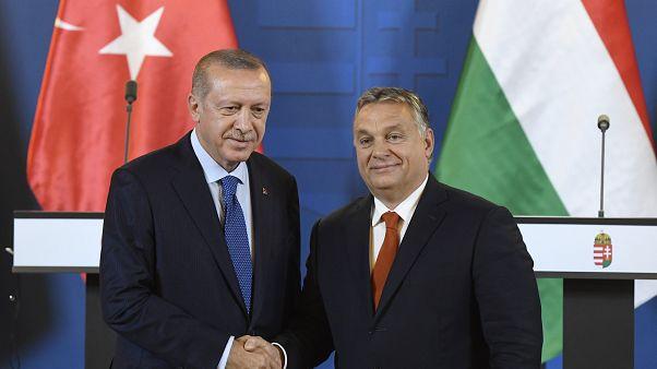 Recep Tayyip Erdogan és Orbán Viktor az Országházban 2018. október 8-án