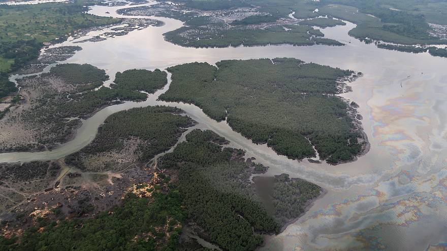 the Niger delta where signs of oil spills can be seen in Port Harcourt