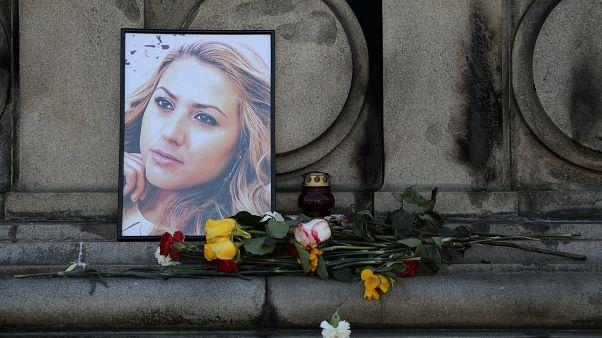A memorial for Bulgarian journalist Viktoria Marinova