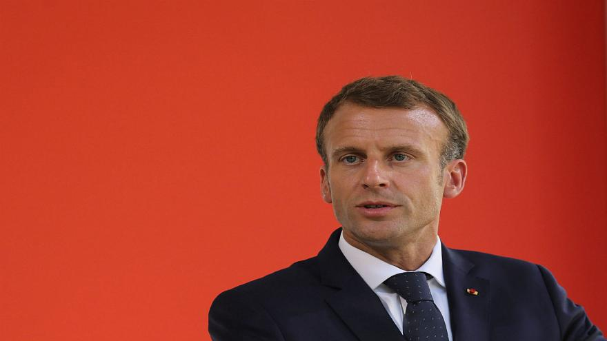 الرئيس الفرنسي إيمانويل ماكرون في باريس يوم 19 سبتمبر أيلول 2018