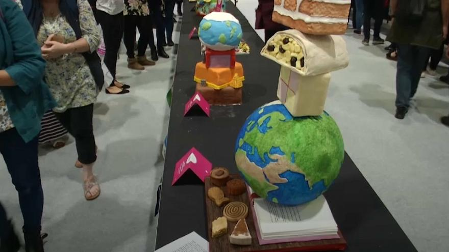 Fancy gateaux on show at London Cake & Bake festival